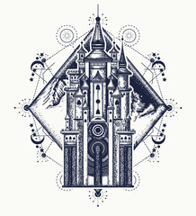 Medieval castle and mountains tattoo art. Symbol of the fairy tale, dream, magic. Medieval castle t-shirt design