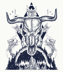 Bull skull and mountans. Compass, carps and crossed arrows tattoo and t-shirt design. Boho style, adventure, travel. Trbal tattoo. Magical symbols astrology, alchemy, meditation