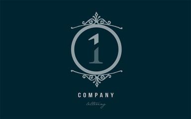 1 one blue decorative monogram number numeral digit logo icon design
