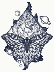 Butterfly, rose, and universe tattoo, geometrical style. Beautiful Swallowtail boho t-shirt design. Mystical symbol of freedom, nature, tourism. Realistic butterfly art tattoo for women