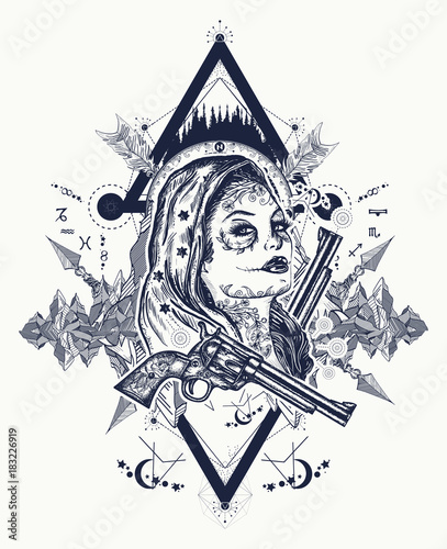 Mexican Criminal Tattoo Art And T Shirt Design Water Color Splashes