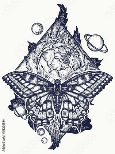 Butterfly Rose And Universe Tattoo Geometrical Style Beautiful