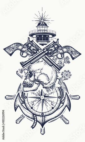 skull and guns anchor steering wheel compass lighthouse tattoo art symbol of maritime. Black Bedroom Furniture Sets. Home Design Ideas