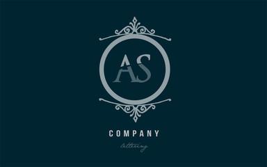 as a s blue decorative monogram alphabet letter logo combination icon design
