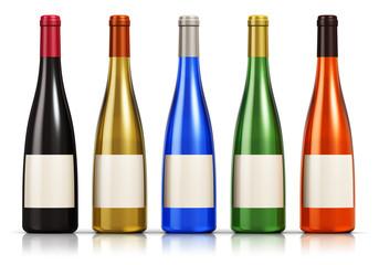 Set of color glass wine bottles