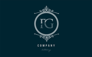 fg f g blue decorative monogram alphabet letter logo combination icon design