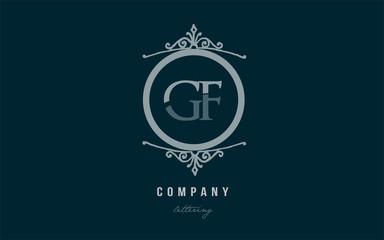 gf g f blue decorative monogram alphabet letter logo combination icon design