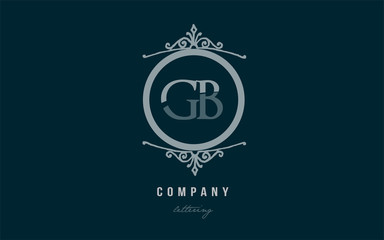 gb g b blue decorative monogram alphabet letter logo combination icon design