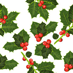Seamless pattern of holly branches. Happy Christmas Background!