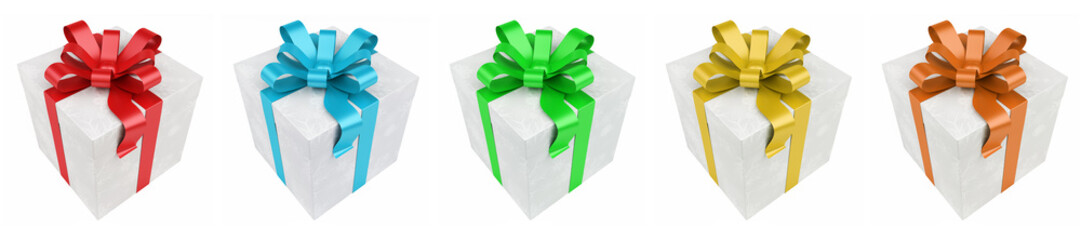Colorful christmas gift pack isolated 3D rendering