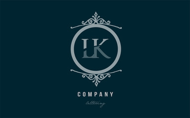 lk l k blue decorative monogram alphabet letter logo combination icon design