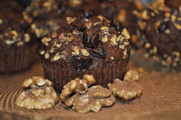 Chocolate muffin with walnuts