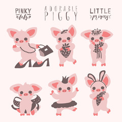 Cute pig set. Piggy girl funny, adorable collection. Graphic print set, stickers, emoji. Piglet with strawberry, flowers, bow, ballerina, carrot, bag. Little princess pig
