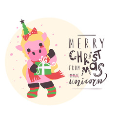 Funny Christmas card. Cute little princess unicorn with green horn with star, boots and scarf with gift box. Merry Christmas typography, lettering