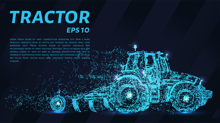 The tractor which consists of points. Particles in the form of a tractor on a dark background. Vector illustration. Graphic concept of the agricultural business.