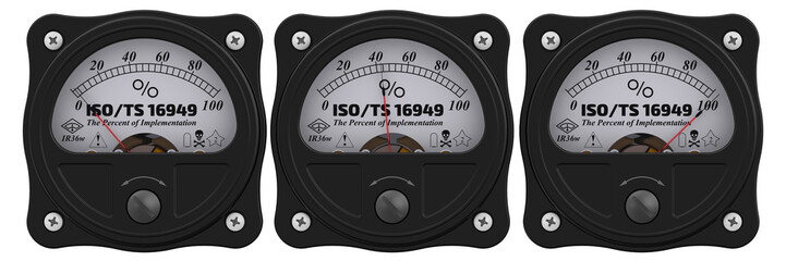 "ISO/TS 16949:2009. Analog indicator showing the level of implementation ""ISO/TS 16949:2009"" (applies to the design (development), production, installation and servicing of automotive-related products)"