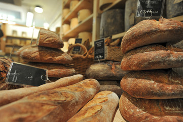 Fresh-baked assortment of breads on the Borough Market in London