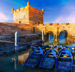 Wall Mural - Sqala du Port, defensive tower at the fishing port of Essaouira, Morocco