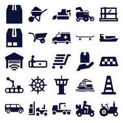 Set of 25 transportation filled icons