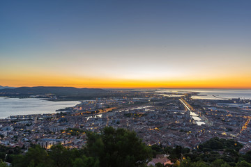 Day rise on the city of sete, in France
