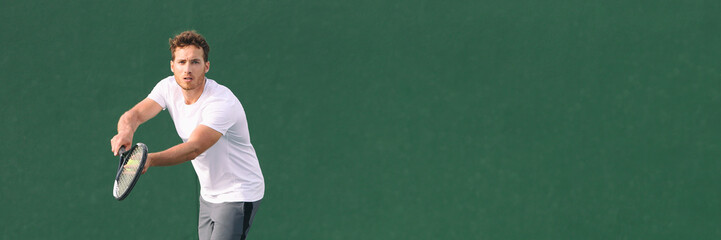 Tennis sport fitness man focused on serve at game. Male athlete tennis player. Concentration in sports. Panorama banner on green background.