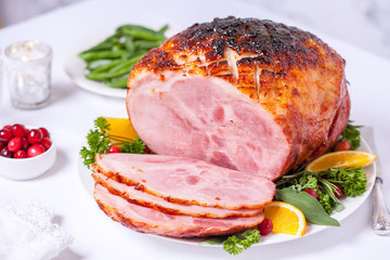 Christmas Roasted glazed holiday pork ham