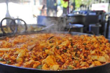 Hot food at Borough Market in London, UK