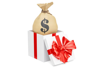 Bag with dollars inside gift box, 3D rendering