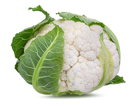 Fresh cauliflower isolated on white background with clipping path