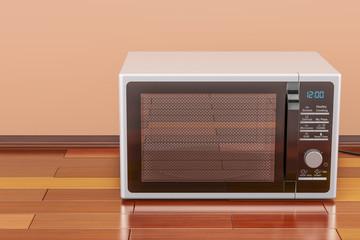 Modern Microwave in room on the wooden floor, 3D rendering