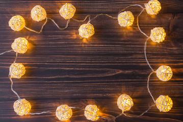 Frame from Christmas luminous garlands