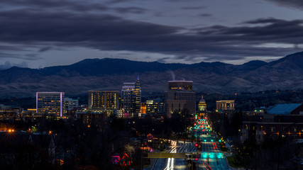 City of Boise Idaho in the early morning before sunrise