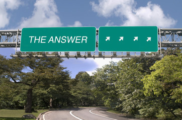 The Answer written on highway sign