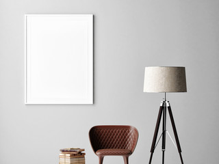 Mock up poster on gray wall, interior minimalism design, lamp, chair, books, 3d render, 3d illustration