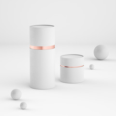 Mockup of closed paper can tubes