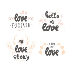 vector handdrawn lettering about love