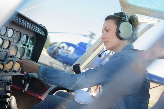 helicopter pilot ready for take off