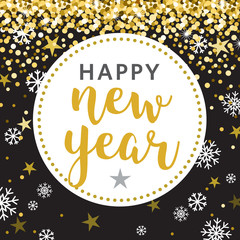 Black Gold Circle Happy New Year Vector Illustration 3