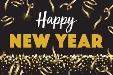 Black Gold Happy New Year Horiztontal Vector Illustration 1