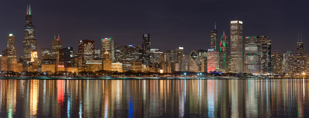 Wall Mural - Chicago Christmas Skyline Lights Panorama