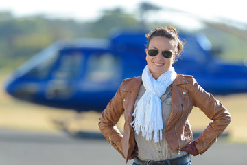 young woman helicopter pilot