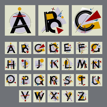 Set of alfabet with capital letters, made up of simple geometric shapes, in Modern Suprematism style. EPS 8 vector  art.