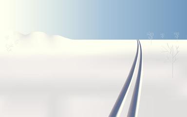 Winter landscape frozen ski tracks, vector