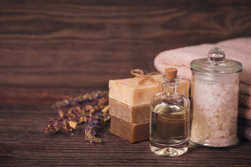 Spa products for facial and body care.