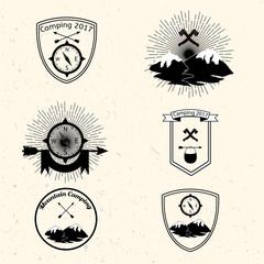 Camping badges set. Decorative elements