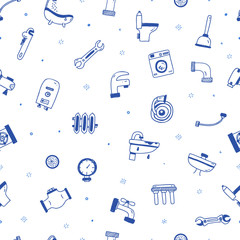 Plumbing service seamless pattern in blue color in hand drawn doodle style for site background, print design with plumber, faucet, pipe, sink, toilet.