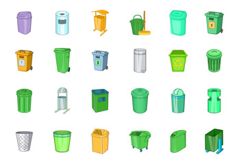 Garbage can icon set, cartoon style