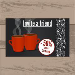 Invitation with special offer for cafe