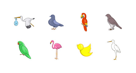 Birds icon set, cartoon style