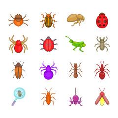 Bugs icon set, cartoon style